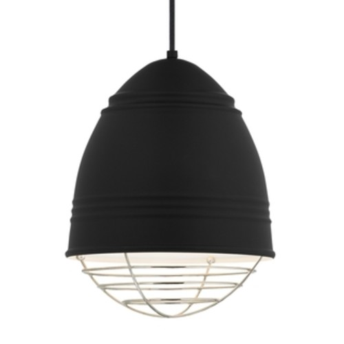 LBL Loft 1 light Rubberized Black Exterior with White Interior with Polished Nickel Cage LED Pendant