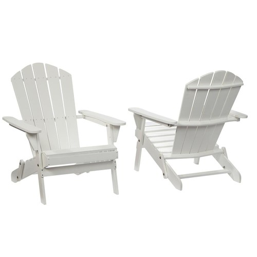 tice Folding White Outdoor Adirondack Chair (2-Pack)