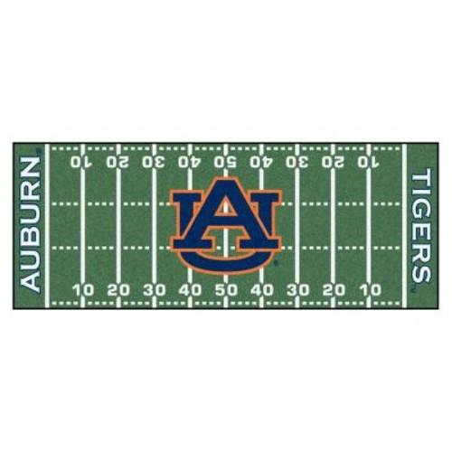FANMATS NCAA Auburn University Green 2 ft. 6 in. x 6 ft. Football Field Rug Runner