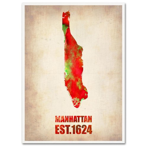 Naxart 'Manhattan Watercolor Map' Canvas Wall Art 14 x 19