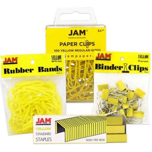 JAM Paper Desk Supply Assortment Set, Yellow, (1) Rubber Bands (1) Colored Staples (1) Binder Clips (1) Paper Clips, 4/set