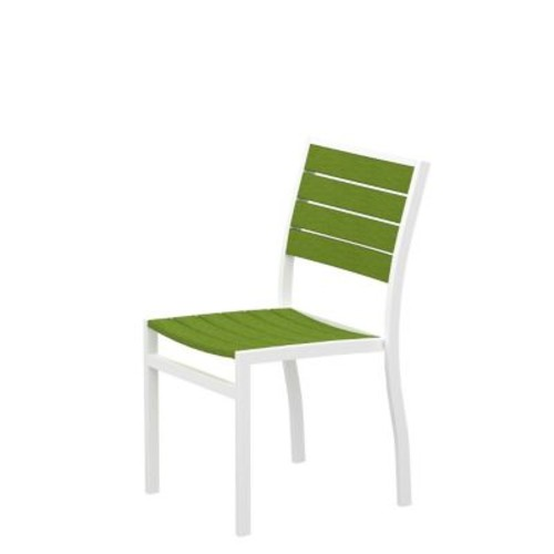 POLYWOOD Euro Dining Side Chair ; Textured White Aluminum Frame / Lime