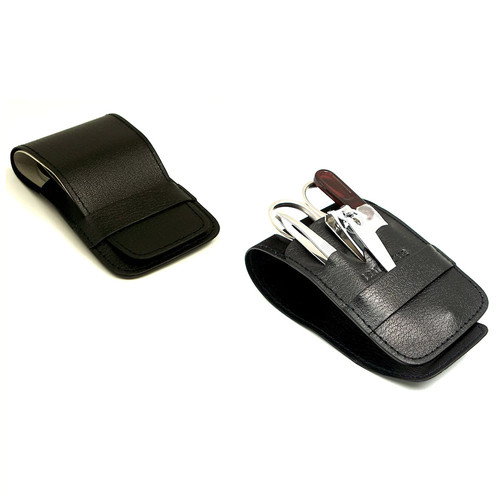 4 Pieces Travel manicure Set, Black Leather Case, Tarnish Proof