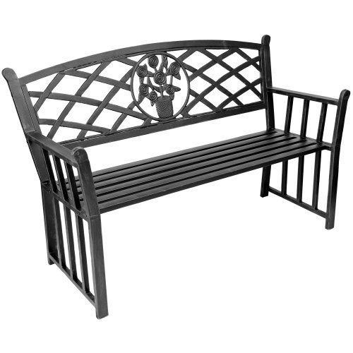 Jordan Manufacturing Black Steel Park bench with Bouquet Syle Back