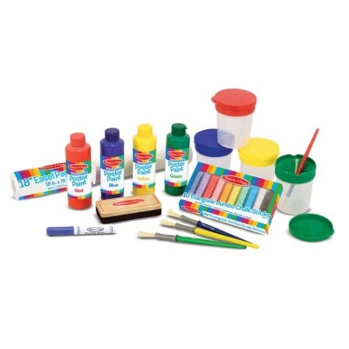 Melissa & Doug Easel Accessory Set - Paint, Cups, Brushes, Chalk, Paper, Dry-Erase Marker [Accessory Set]