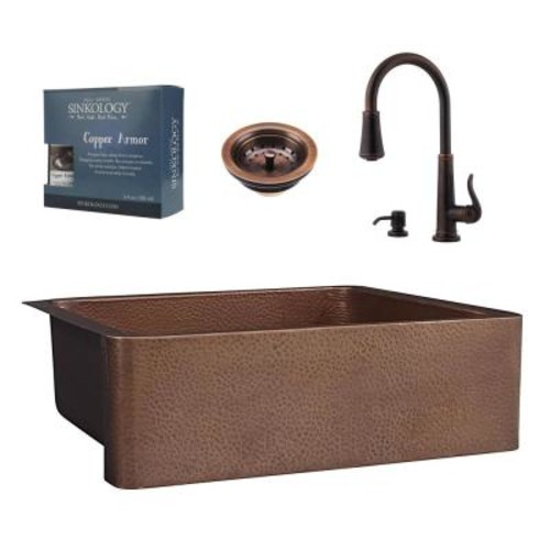 SINKOLOGY Pfister All-in-One Courbet Copper Farmhouse Kitchen Sink Design Kit with Ashfield Pull Down Faucet in Rustic Bronze