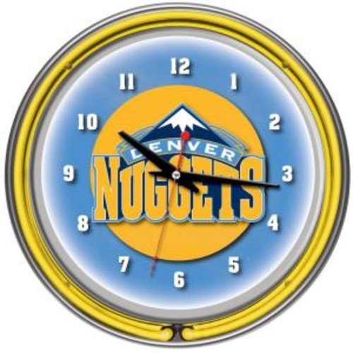 Trademark 14 in. Denver Nuggets NBA Chrome Double Ring Neon Wall Clock