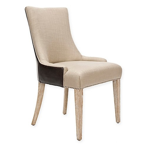 Safavieh Becca Dining Chair in Antique Gold/Brown Leather