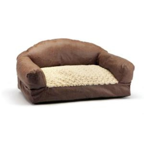 Brinkmann Pet Products 29 in. Brown Faux Fur and Faux Leather Sofa Pet Bed