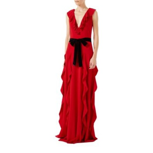 GUCCI Ruffle Viscose Jersey Gown