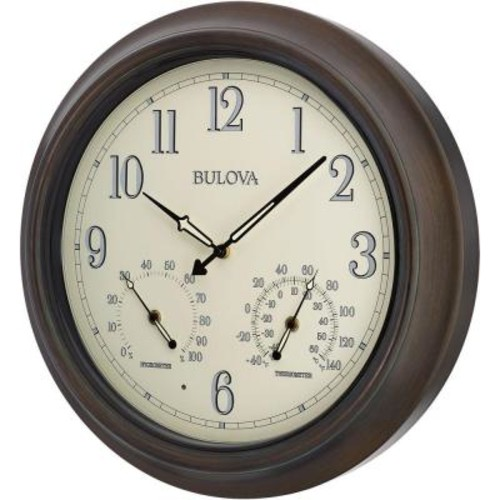 Bulova 18 in. H x 18 in. W Outdoor Wall Clock with 2-Step Metal Case