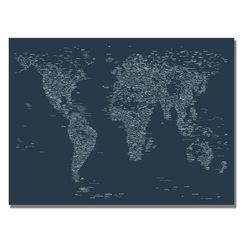 Trademark Global Michael Tompsett 'Font World Map VI' Canvas Art [Overall Dimensions : 18x24]