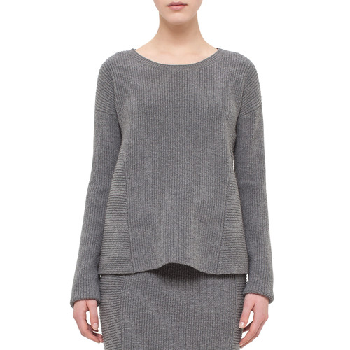 AKRIS PUNTO Ribbed Trapeze Long-Sleeve Sweater, Cliff
