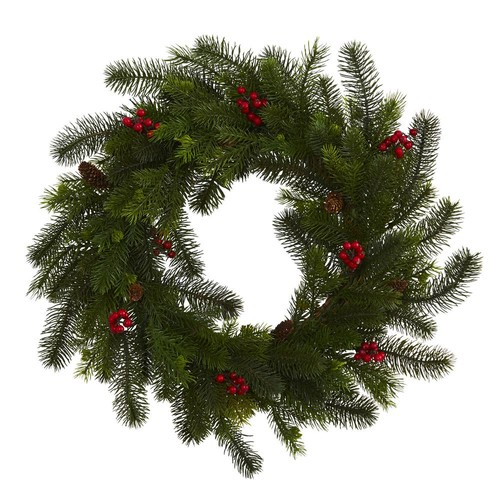 Nearly Natural 24 in. Pine and Berry Artificial Wreath