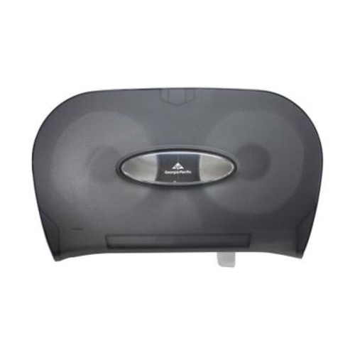 Georgia-Pacific Translucent Smoke Two Roll Side-by-Side Covered Bathroom Tissue Dispenser