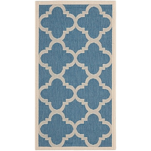 Safavieh Courtyard Quatrefoil 2-Foot x 3-Foot 7-Inch Indoor/Outdoor Accent Rug in Blue