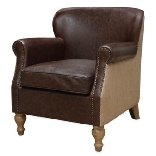 Madison Park Luther Turned Leg Club Chair in Chocolate