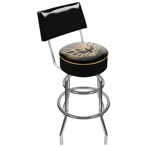 Trademark Global Pontiac Firebird Black Padded Swivel Bar Stool with Back