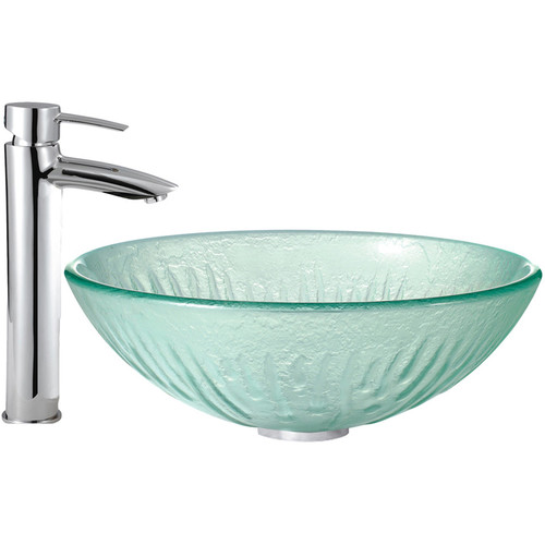 VIGO Icicles Glass Vessel Sink and Shadow Faucet Set in a Chrome Finish