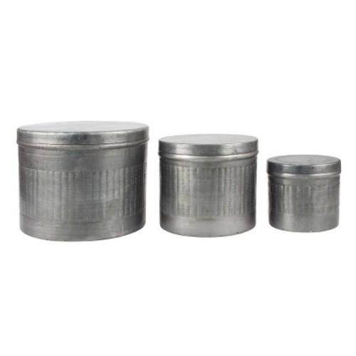 Stonebriar Collection Galvanized Metal Round Storage Box 3-piece Set