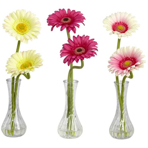 Nearly Natural Gerber Daisy with Bud Vase Set of 3 1248-A2