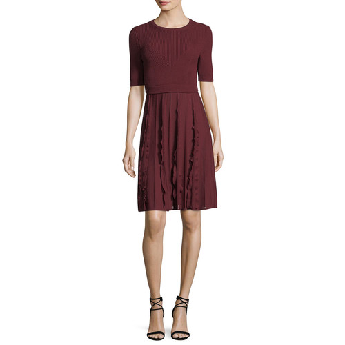 VALENTINO Short-Sleeve Knit Wool Dress