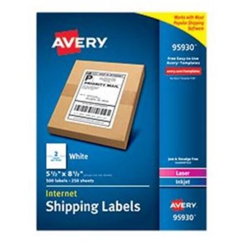 Avery-Dennison 95930 White Shipping Labels, Laser or Inkjet, White - 5. 5 x 8. 5 inch