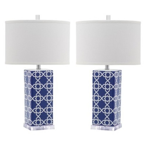 Safavieh Quatrefoil Table Lamp - Navy (Set of 2)