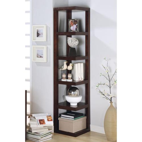 Venetian Worldwide Lawrene Corner Bookcase in Cappuccino Finish