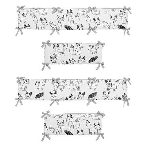Sweet Jojo Designs Black and White Fox Collection Crib Bumper