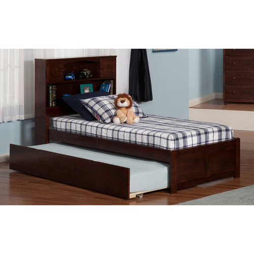 Atlantic 'Newport' Walnut-finish Wood Twin Bed with Flat-panel Foot Board and Urban Trundle