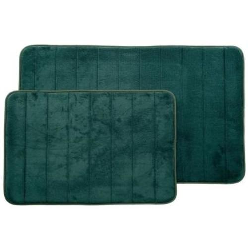 Lavish Home Green 20.25 in. x 32.25 in. Memory Foam 2-Piece Bath Mat Set
