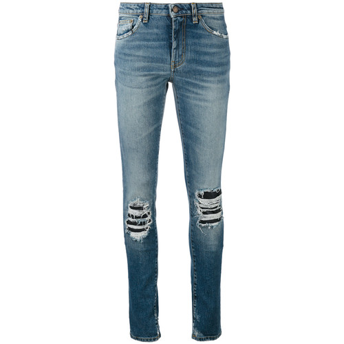SAINT LAURENT Ripped Detail Jeans