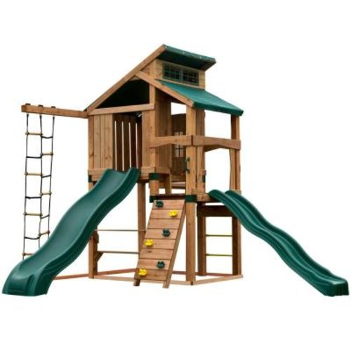 Swing-N-Slide Playsets Hideaway Clubhouse Plus Playset with Cool Wave and Alpine Slides, Add 4 in. x 4 in.