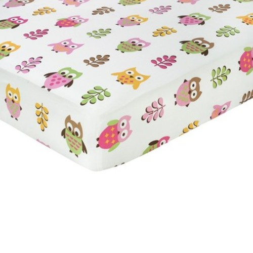 Sweet Jojo Designs Happy Owl Collection Crib Sheet in Owl Print