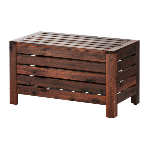 PPLAR Storage bench, outdoor, brown stained brown