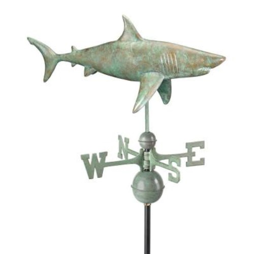 Shark Weathervane - Blue Verde Copper by Good Directions