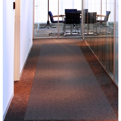 Floortex Long & Strong Hallway Runner | Clear PVC Carpet Protector Roll Mat | for Standard Pile Carpets | Size 48