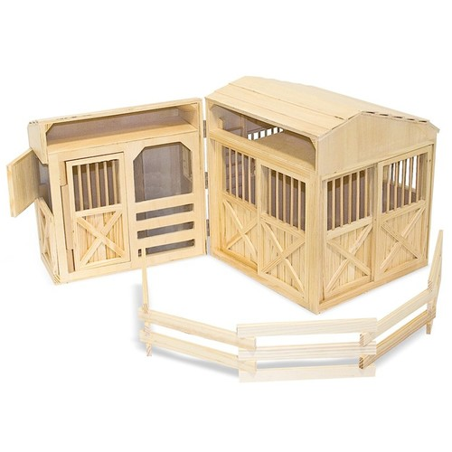 Melissa & Doug Folding Wooden Horse Stable Dollhouse With Fence [Natural]