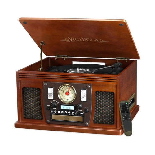 Victrola 7-in-1 Bluetooth Record Player with USB Recording in Mahogany