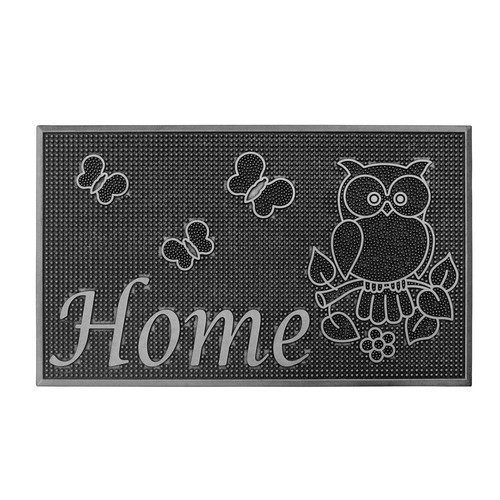Silver Painted 18 in. x 30 in. Rubber Indoor/Outdoor Welcome Home Mat