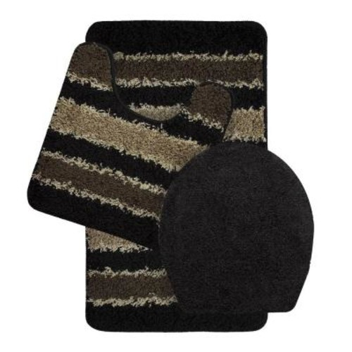 Bath Frieze Deliso Olefin Stripe Non-Slip Black 3-Piece Bath Rug Set