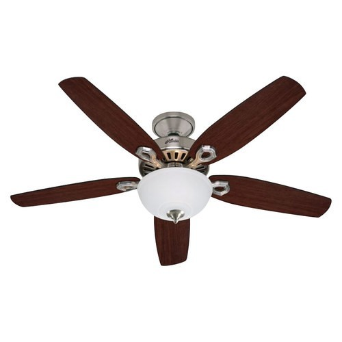 Hunter Builder Deluxe 52-in Brushed Nickel Downrod or Close Mount Indoor Ceiling Fan with Light Kit