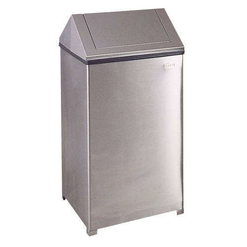 Rubbermaid Commercial Fire-Safe Square Steel Swing-Top Receptacle, 40 Gallons, Stainless Steel