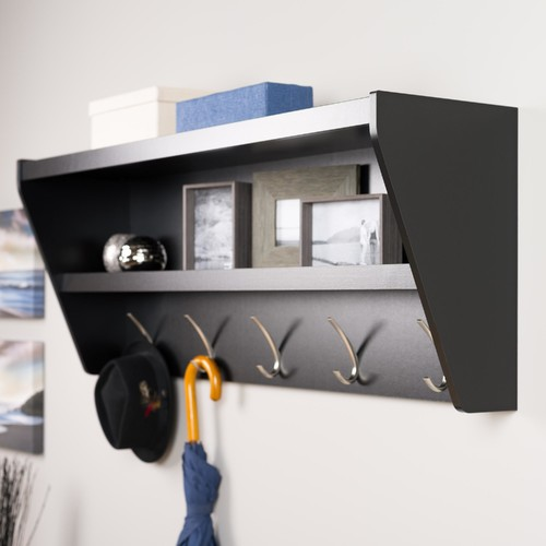 Prepac Floating Entryway Shelf & Coat Rack in Black