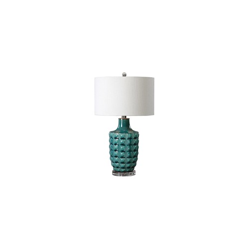 Uttermost Monferrato Textured Smoke Blue Ceramic Table Lamp