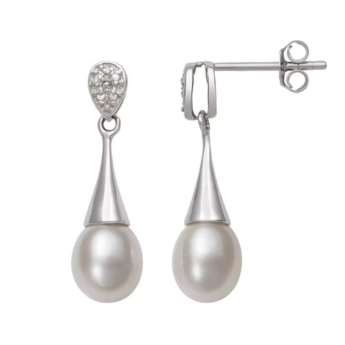 Sterling Silver Cultured Freshwater Pearl Drop Earrings
