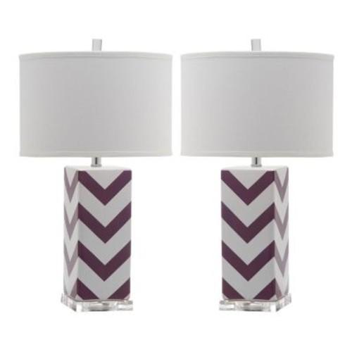 Safavieh Indoor 1-light Purple Chevron Stripe Table Lamp (Set of 2)