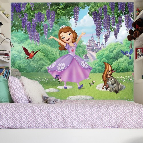 RoomMates 72 in. W x 126 in. H Sofia the First Friends Garden XL Chair Rail 7-Panel Prepasted Wall Mural