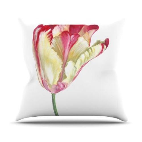 KESS InHouse Red Tip Tulip Throw Pillow